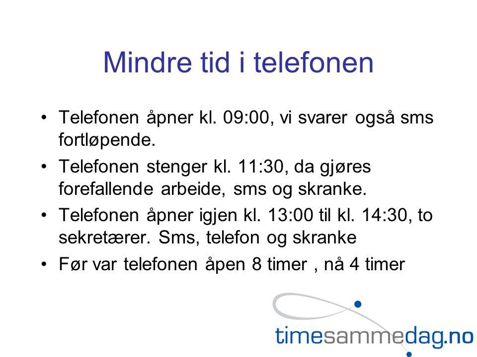 Mindre tid i telefonen Telefonen åpner kl.09:00, vi svarer også sms fortløpende.