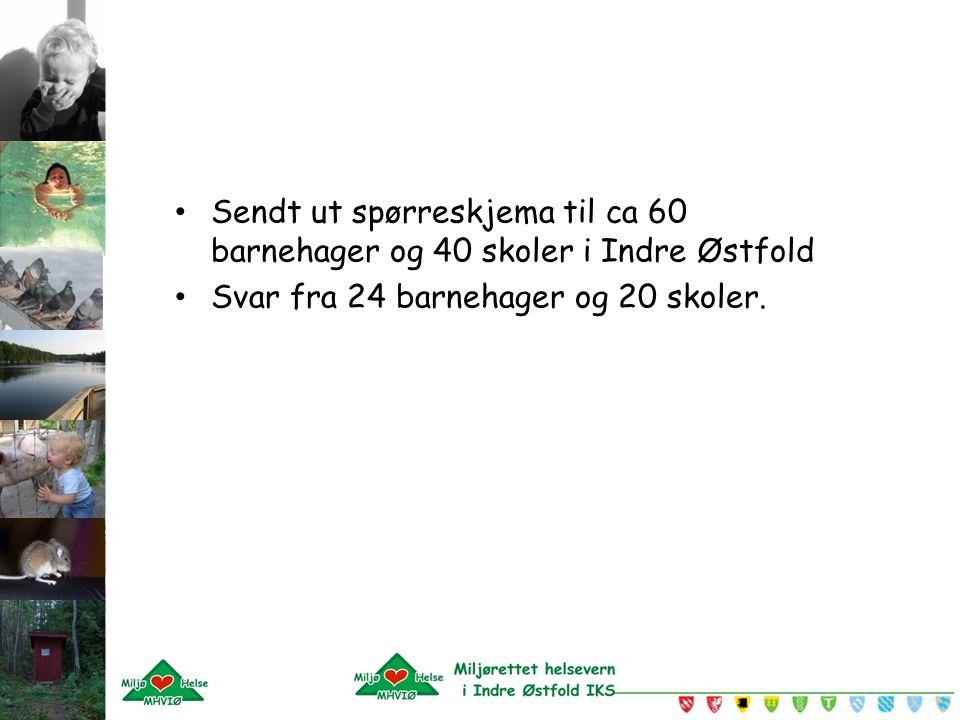 Sendt ut spørreskjema til ca 60 barnehager og 40 skoler i Indre Østfold Svar fra 24 barnehager og 20 skoler.