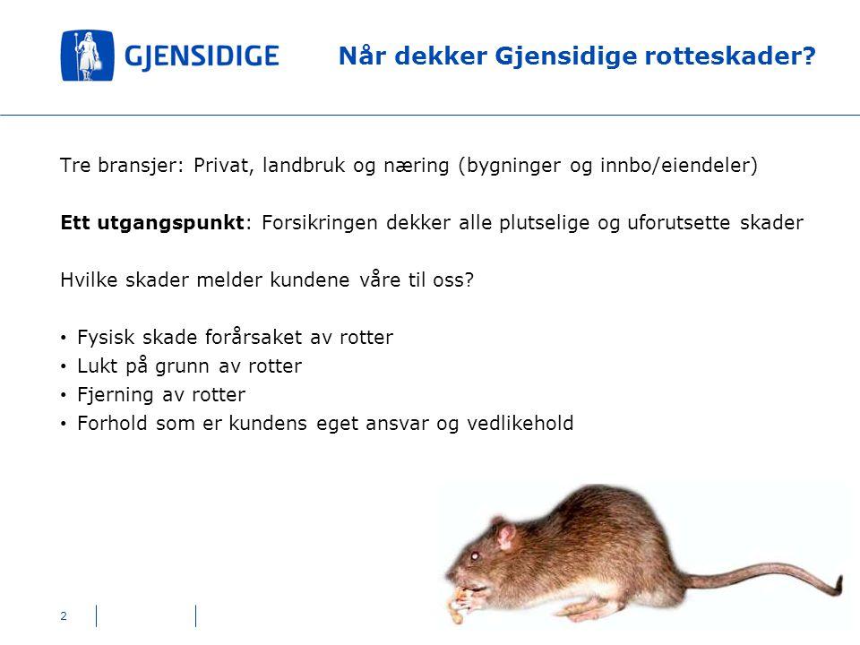 Når dekker Gjensidige rotteskader? 2 Tre bransjer: Privat, landbruk og næring (bygninger og innbo/eiendeler) Ett utgangspunkt: Forsikringen dekker all