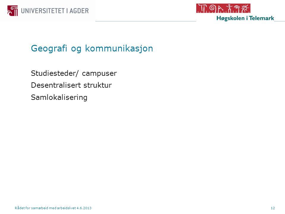Geografi og kommunikasjon Studiesteder/ campuser Desentralisert struktur Samlokalisering Rådet for samarbeid med arbeidslivet 4.6.201312