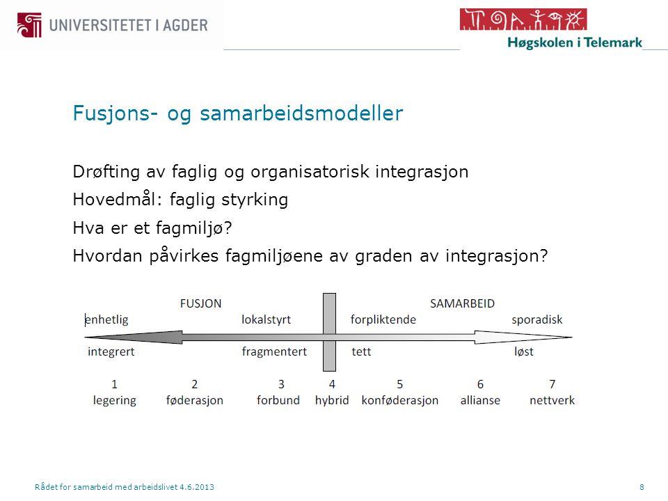 Fusjons- og samarbeidsmodeller Drøfting av faglig og organisatorisk integrasjon Hovedmål: faglig styrking Hva er et fagmiljø.