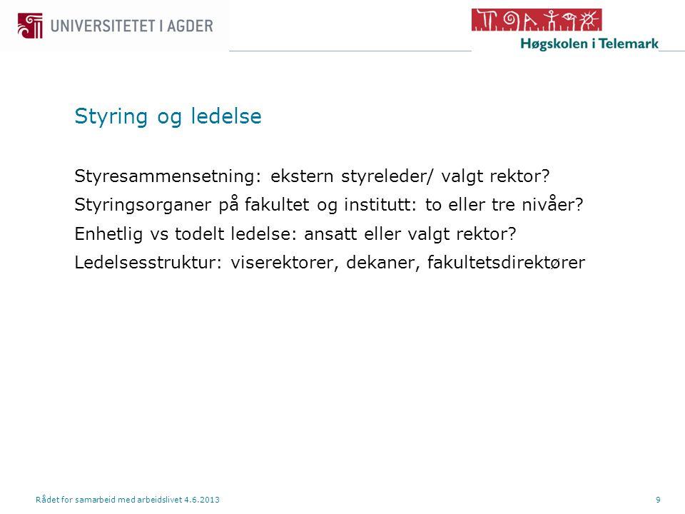 Styring og ledelse Styresammensetning: ekstern styreleder/ valgt rektor.