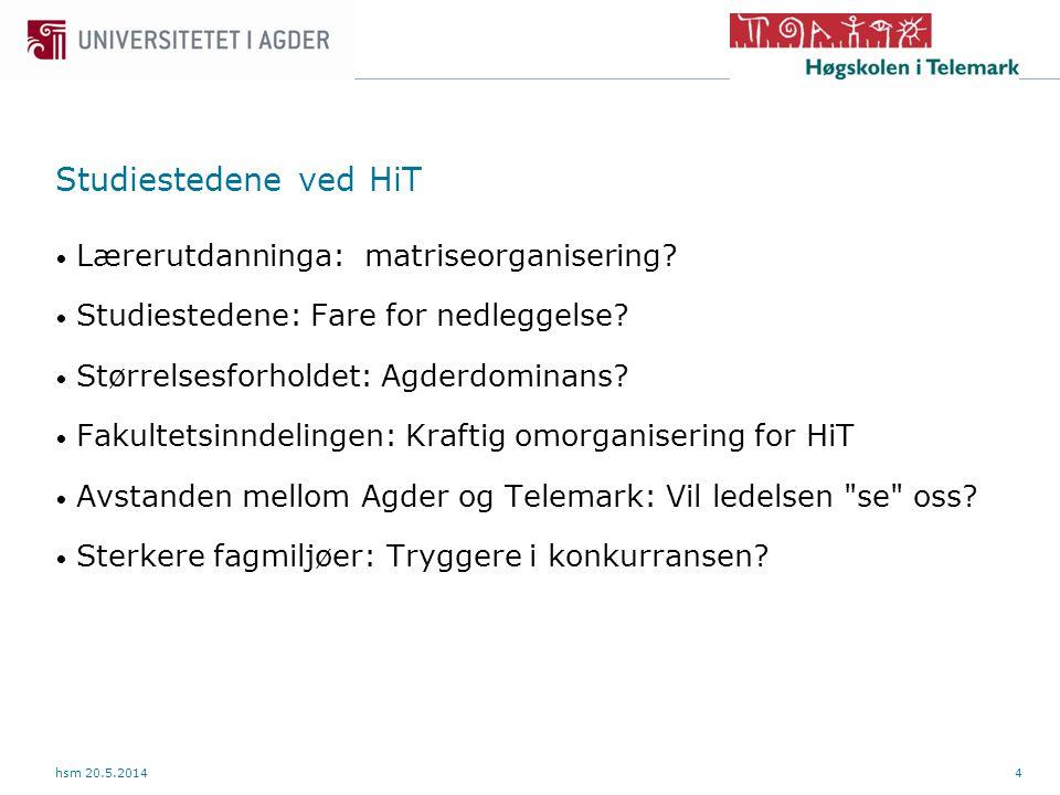 4 Studiestedene ved HiT hsm 20.5.2014 Lærerutdanninga: matriseorganisering.