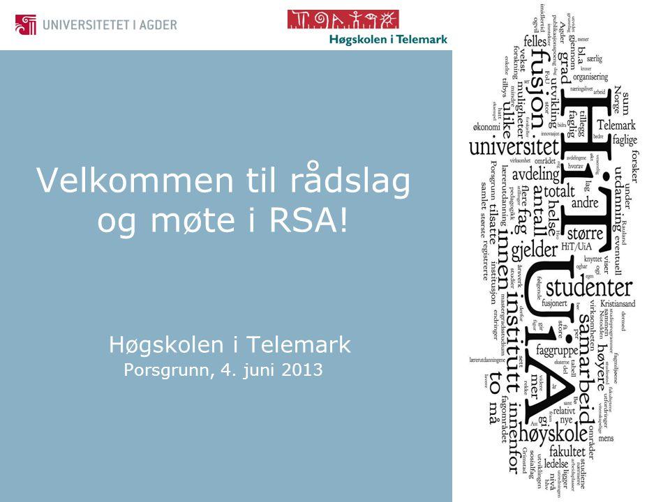 Velkommen til rådslag og møte i RSA! Høgskolen i Telemark Porsgrunn, 4. juni 2013