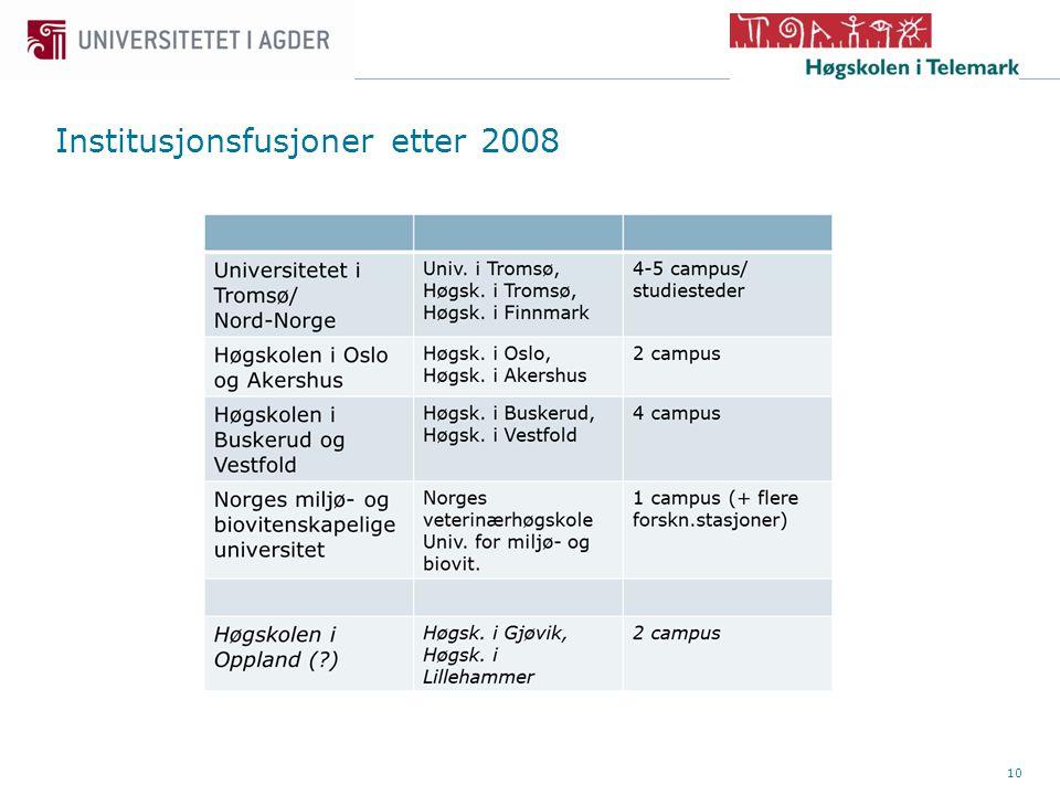 10 Institusjonsfusjoner etter 2008