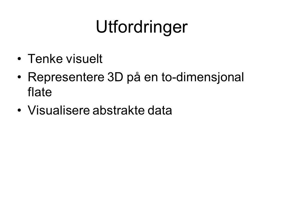 Utfordringer Tenke visuelt Representere 3D på en to-dimensjonal flate Visualisere abstrakte data
