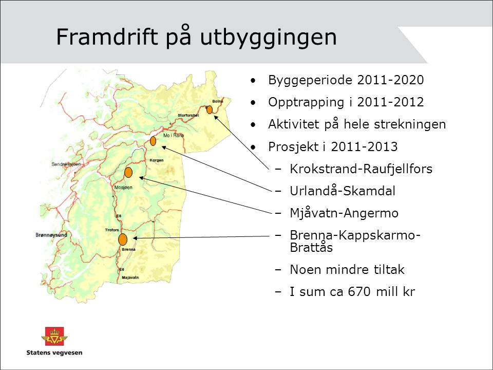 Framdrift på utbyggingen Byggeperiode 2011-2020 Opptrapping i 2011-2012 Aktivitet på hele strekningen Prosjekt i 2011-2013 –Krokstrand-Raufjellfors –U