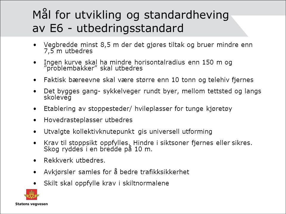 Mål for utvikling og standardheving av E6 - utbedringsstandard Vegbredde minst 8,5 m der det gjøres tiltak og bruer mindre enn 7,5 m utbedres Ingen ku