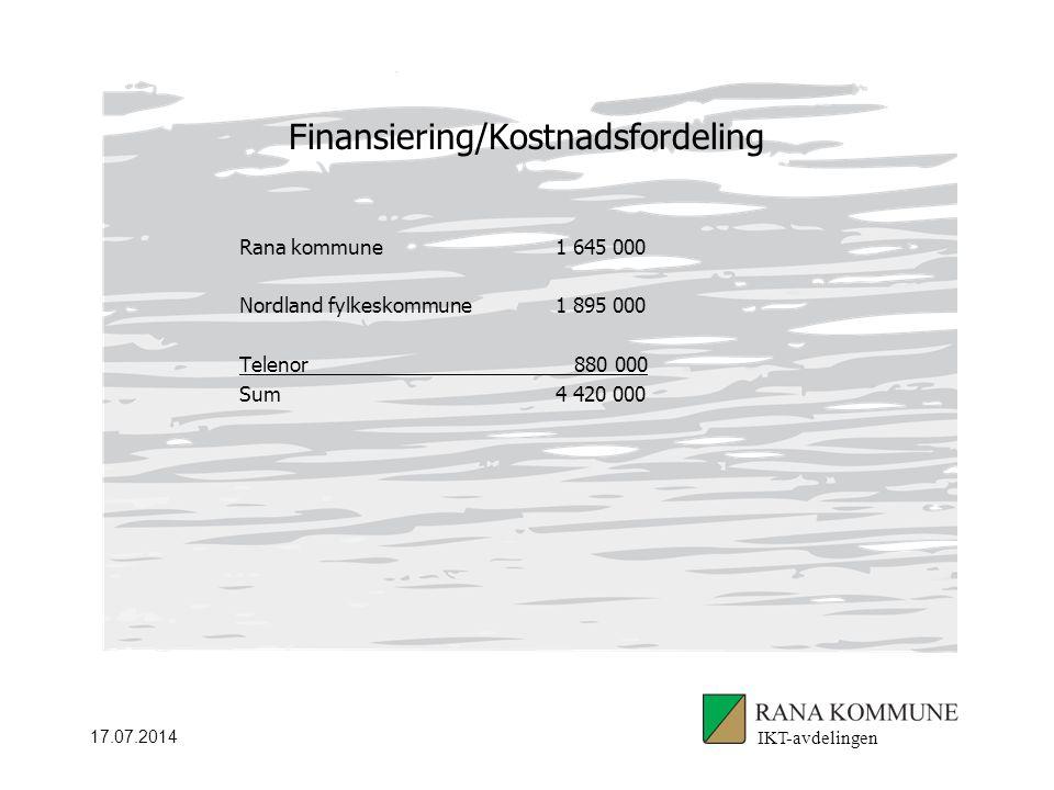 17.07.2014 Finansiering/Kostnadsfordeling IKT-avdelingen Rana kommune1 645 000 Nordland fylkeskommune1 895 000 Telenor 880 000 Sum4 420 000