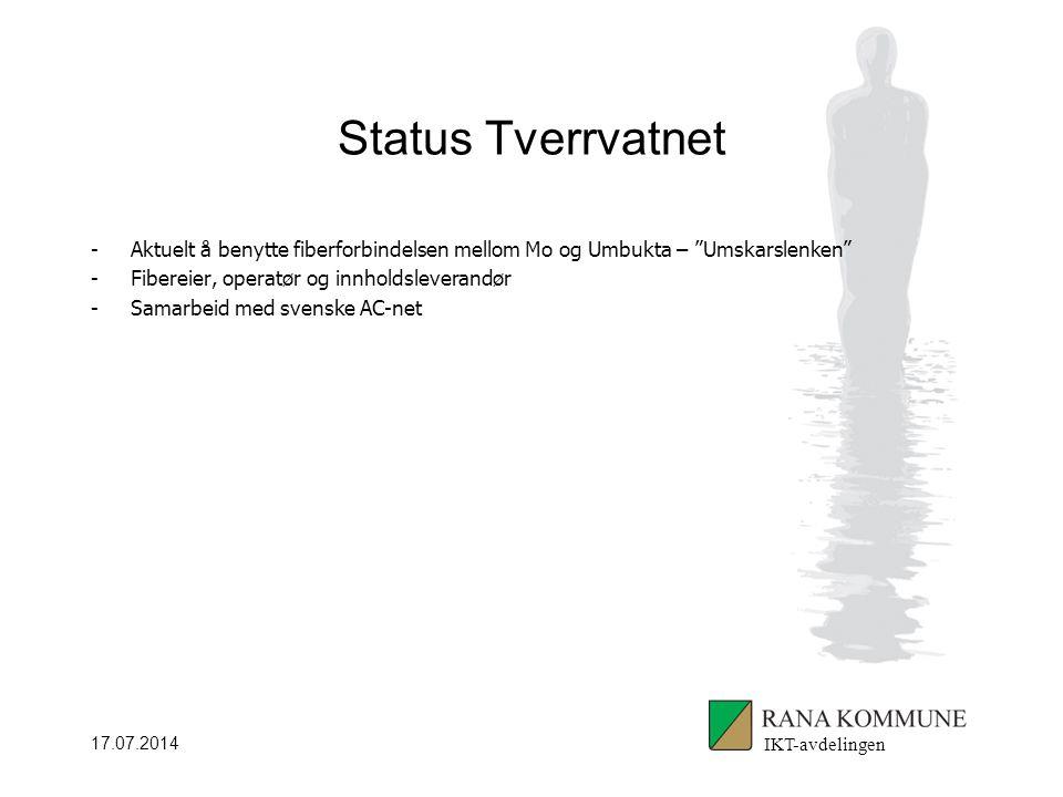17.07.2014 Status Tverrvatnet -Aktuelt å benytte fiberforbindelsen mellom Mo og Umbukta – Umskarslenken -Fibereier, operatør og innholdsleverandør -Samarbeid med svenske AC-net IKT-avdelingen