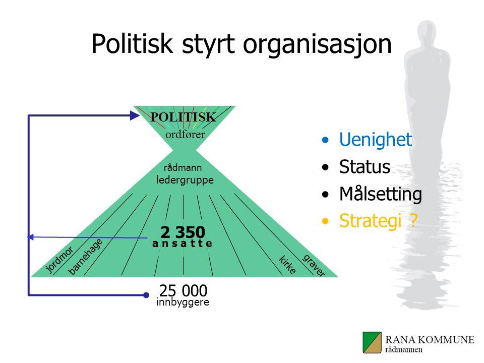 Politisk styrt organisasjon Uenighet Status Målsetting Strategi .