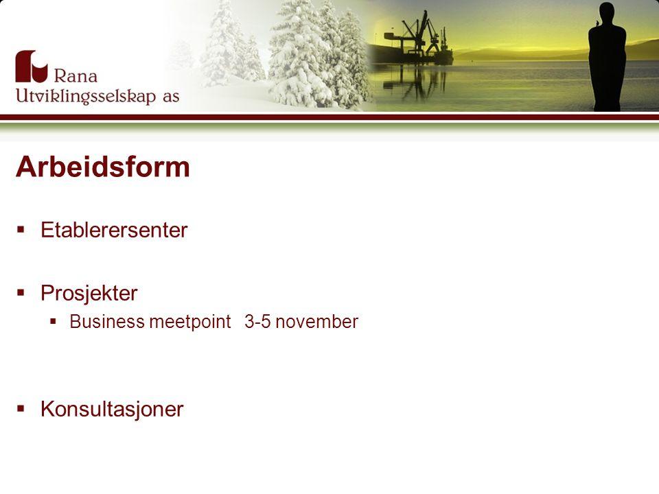 Arbeidsform  Etablerersenter  Prosjekter  Business meetpoint 3-5 november  Konsultasjoner