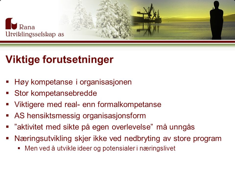 Viktige forutsetninger  Høy kompetanse i organisasjonen  Stor kompetansebredde  Viktigere med real- enn formalkompetanse  AS hensiktsmessig organi