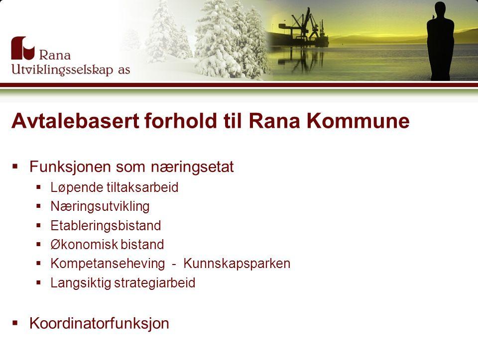 Avtalebasert forhold til Rana Kommune  Funksjonen som næringsetat  Løpende tiltaksarbeid  Næringsutvikling  Etableringsbistand  Økonomisk bistand