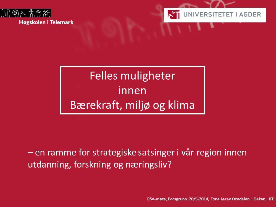 – en ramme for strategiske satsinger i vår region innen utdanning, forskning og næringsliv.