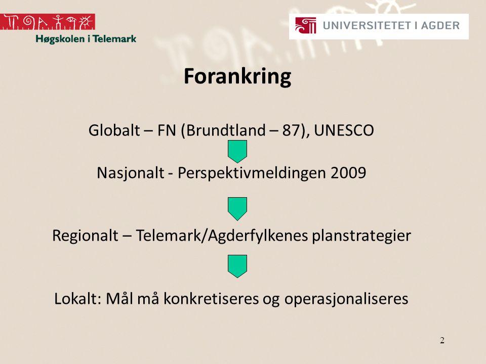2 Forankring Globalt – FN (Brundtland – 87), UNESCO Nasjonalt - Perspektivmeldingen 2009 Regionalt – Telemark/Agderfylkenes planstrategier Lokalt: Mål må konkretiseres og operasjonaliseres