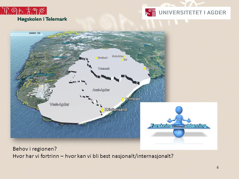 4 Behov i regionen Hvor har vi fortrinn – hvor kan vi bli best nasjonalt/internasjonalt