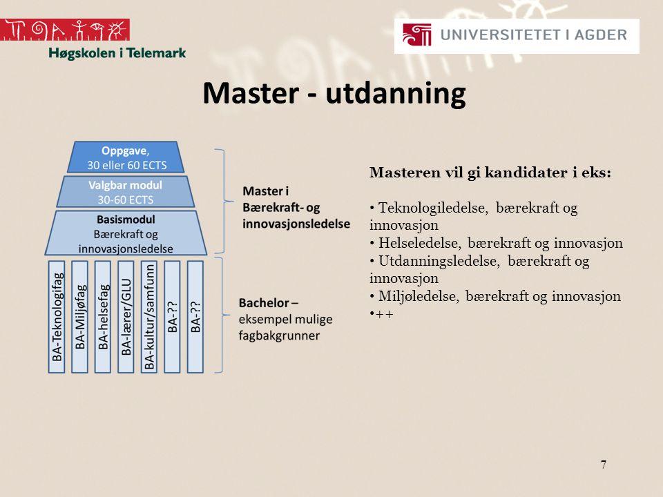 7 Master - utdanning Masteren vil gi kandidater i eks: Teknologiledelse, bærekraft og innovasjon Helseledelse, bærekraft og innovasjon Utdanningsledelse, bærekraft og innovasjon Miljøledelse, bærekraft og innovasjon ++