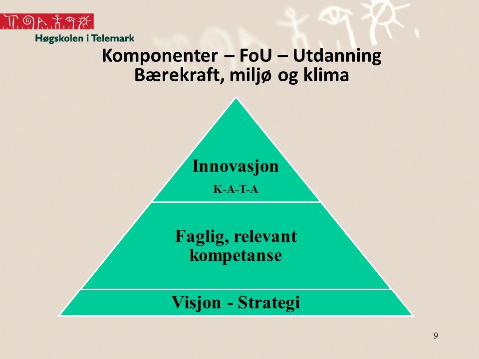 9 Innovasjon K-A-T-A Faglig, relevant kompetanse Visjon - Strategi Komponenter – FoU – Utdanning Bærekraft, miljø og klima
