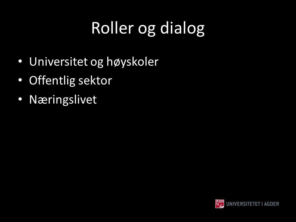 Roller og dialog Universitet og høyskoler Offentlig sektor Næringslivet