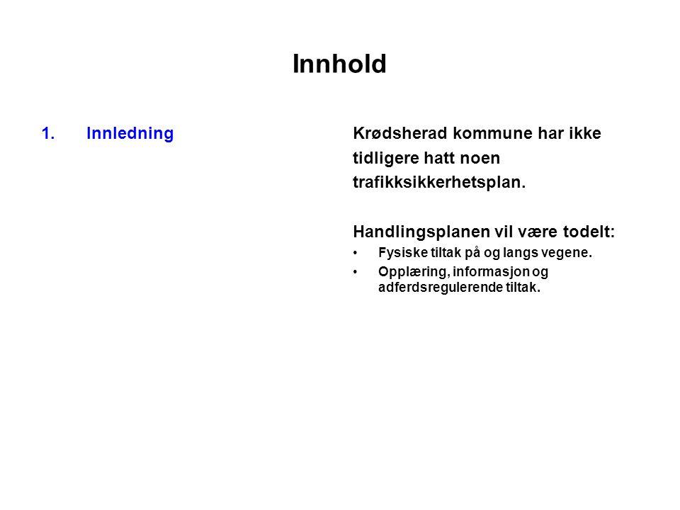 Innhold 1.InnledningKrødsherad kommune har ikke tidligere hatt noen trafikksikkerhetsplan.