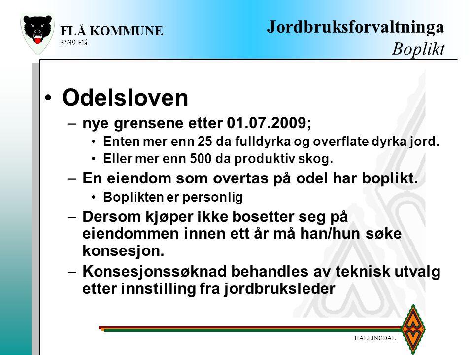 HALLINGDAL FLÅ KOMMUNE 3539 Flå Jordbruksforvaltninga Boplikt Odelsloven –nye grensene etter 01.07.2009; Enten mer enn 25 da fulldyrka og overflate dy