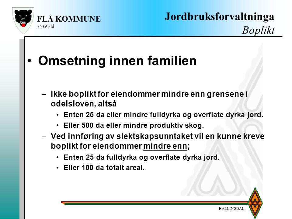 HALLINGDAL FLÅ KOMMUNE 3539 Flå Jordbruksforvaltninga Boplikt Omsetning innen familien –Ikke boplikt for eiendommer mindre enn grensene i odelsloven,