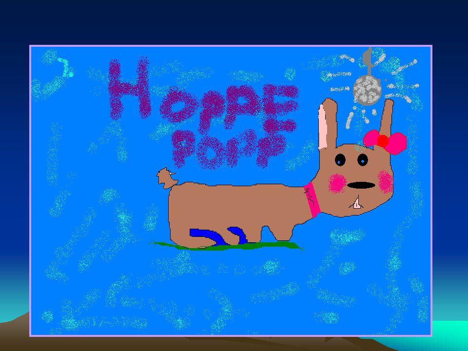 Hoppe Popp Hun er en kanin. Hun er et halvt år. Den er lysebrun med mørkebrun flekk på halen. Den pleier å spille piano og danse disko. Den liker gulr