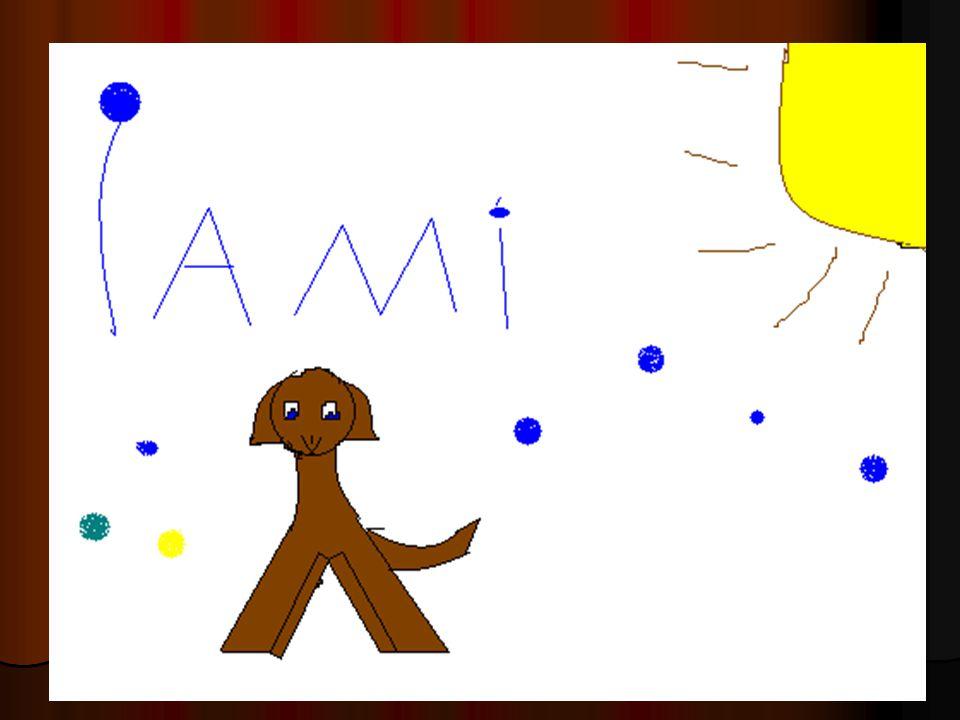 Ami leker masse med ballen sin. Ami leker masse med ballen sin. Ami liker å bli klødd på magen. Ami liker å bli klødd på magen. Ami er en jentehund. A