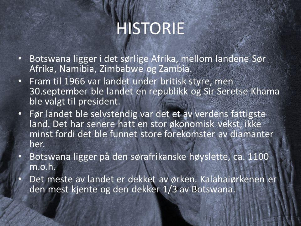 HISTORIE Botswana ligger i det sørlige Afrika, mellom landene Sør Afrika, Namibia, Zimbabwe og Zambia. Fram til 1966 var landet under britisk styre, m