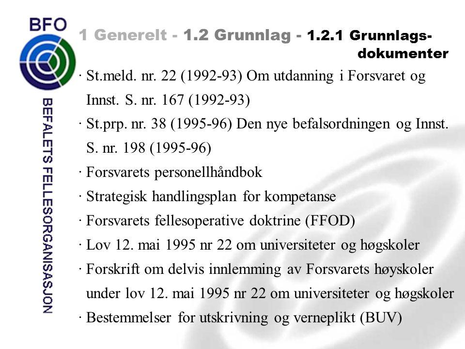 1 Generelt - 1.2 Grunnlag - 1.2.1 Grunnlags- dokumenter · St.meld. nr. 22 (1992-93) Om utdanning i Forsvaret og Innst. S. nr. 167 (1992-93) · St.prp.