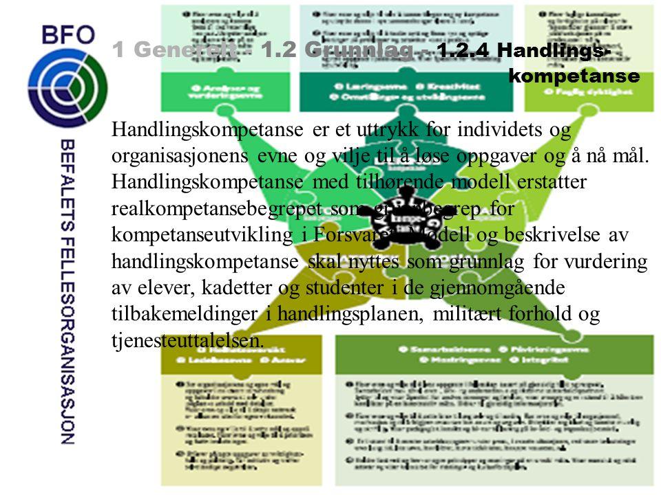 1 Generelt - 1.2 Grunnlag - 1.2.4 Handlings- kompetanse Handlingskompetanse er et uttrykk for individets og organisasjonens evne og vilje til å løse o