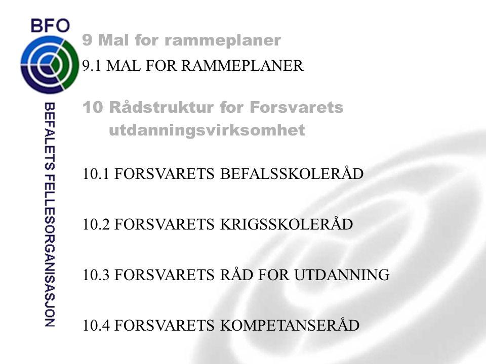 9 Mal for rammeplaner 9.1 MAL FOR RAMMEPLANER 10 Rådstruktur for Forsvarets utdanningsvirksomhet 10.1 FORSVARETS BEFALSSKOLERÅD 10.2 FORSVARETS KRIGSS