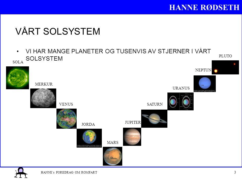 HANNE RØDSETH 3HANNE's FOREDRAG OM ROMFART VÅRT SOLSYSTEM VI HAR MANGE PLANETER OG TUSENVIS AV STJERNER I VÅRT SOLSYSTEM SOLA MERKUR VENUS JORDA MARS JUPITER SATURN URANUS NEPTUN PLUTO