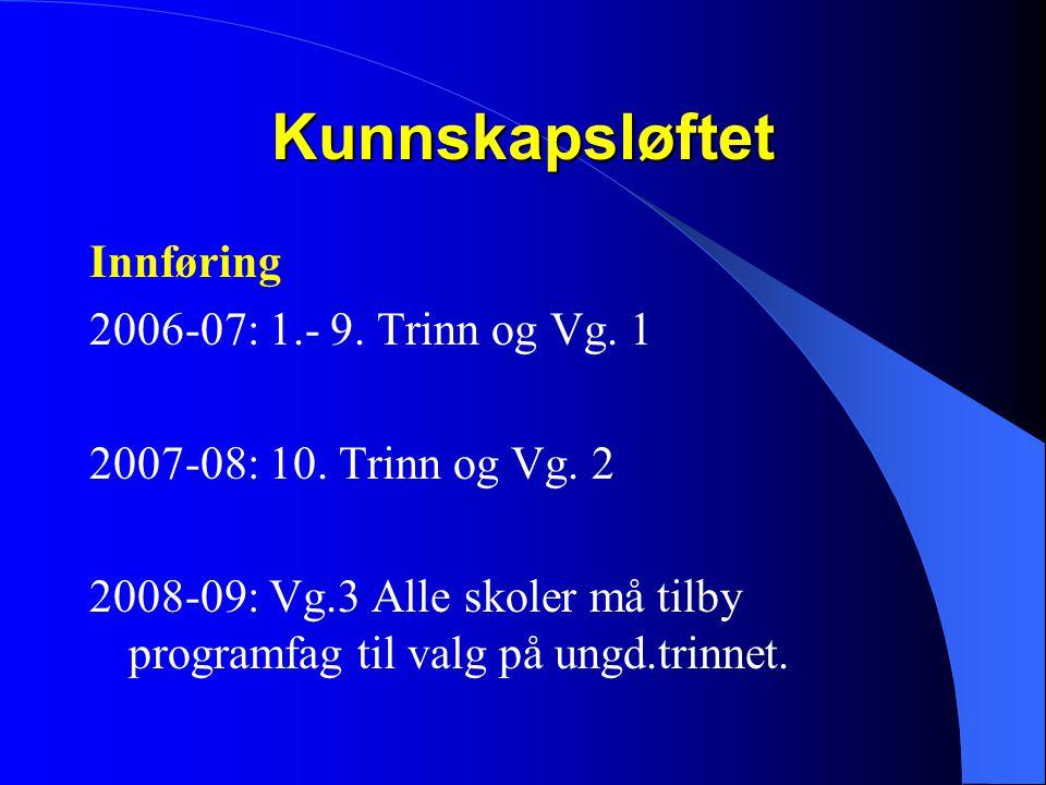 Kunnskapsløftet Innføring 2006-07: 1.- 9. Trinn og Vg. 1 2007-08: 10. Trinn og Vg. 2 2008-09: Vg.3 Alle skoler må tilby programfag til valg på ungd.tr