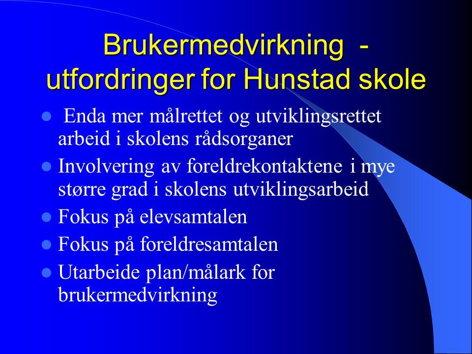 Brukermedvirkning - utfordringer for Hunstad skole Enda mer målrettet og utviklingsrettet arbeid i skolens rådsorganer Involvering av foreldrekontakte