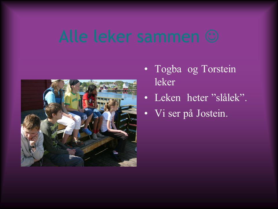 """Alle leker sammen Togba og Torstein leker Leken heter """"slålek"""". Vi ser på Jostein."""