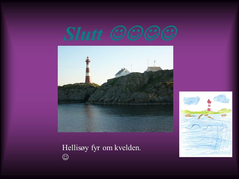 Slutt Hellisøy fyr om kvelden.