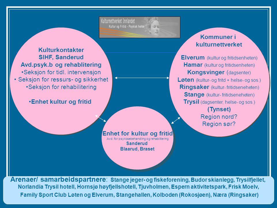 Enhet for Kultur og fritid, Avdeling for psykosebehandling og rehabilitering. Kommuner i kulturnettverket Elverum (kultur og fritidsenheten) Hamar (ku