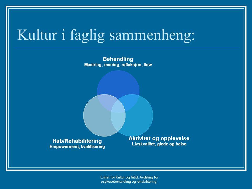Enhet for Kultur og fritid, Avdeling for psykosebehandling og rehabilitering. Kultur i faglig sammenheng: Behandling Mestring, mening, refleksjon, flo