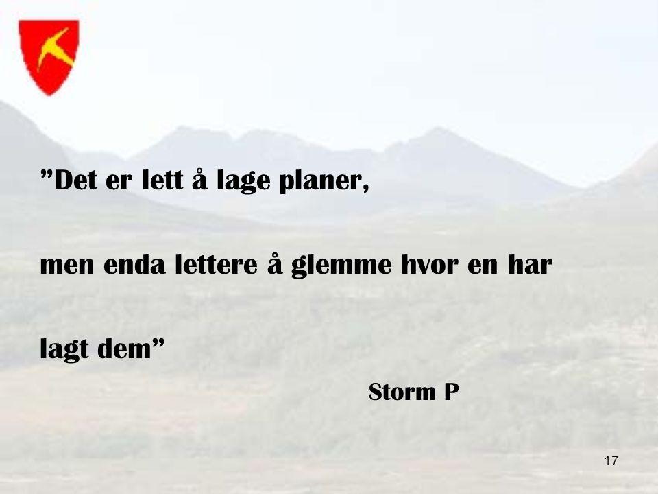 17 Det er lett å lage planer, men enda lettere å glemme hvor en har lagt dem Storm P