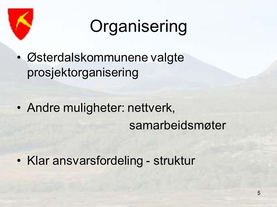 5 Organisering Østerdalskommunene valgte prosjektorganisering Andre muligheter: nettverk, samarbeidsmøter Klar ansvarsfordeling - struktur