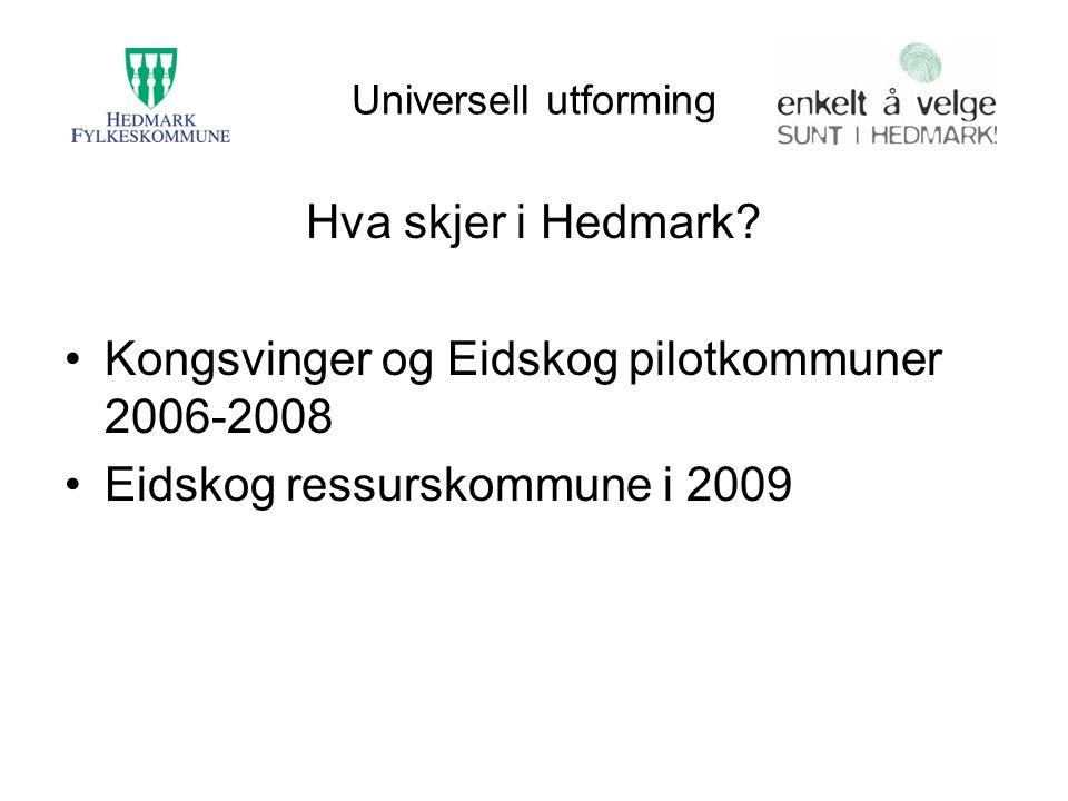 Universell utforming Hva skjer i Hedmark? Kongsvinger og Eidskog pilotkommuner 2006-2008 Eidskog ressurskommune i 2009