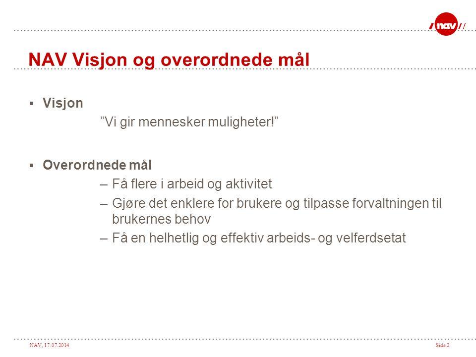 """NAV, 17.07.2014Side 2 NAV Visjon og overordnede mål  Visjon """"Vi gir mennesker muligheter!""""  Overordnede mål –Få flere i arbeid og aktivitet –Gjøre d"""