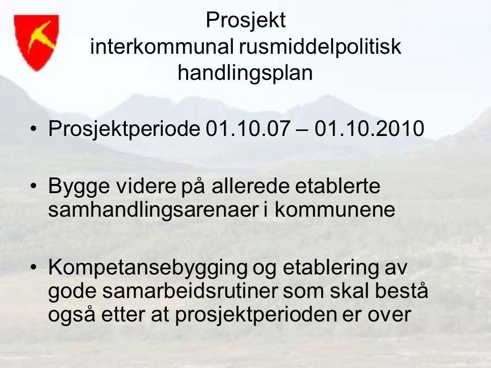 Prosjekt interkommunal rusmiddelpolitisk handlingsplan Prosjektperiode 01.10.07 – 01.10.2010 Bygge videre på allerede etablerte samhandlingsarenaer i