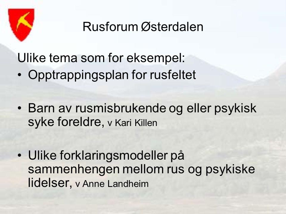 Rusforum Østerdalen Ulike tema som for eksempel: Opptrappingsplan for rusfeltet Barn av rusmisbrukende og eller psykisk syke foreldre, v Kari Killen U