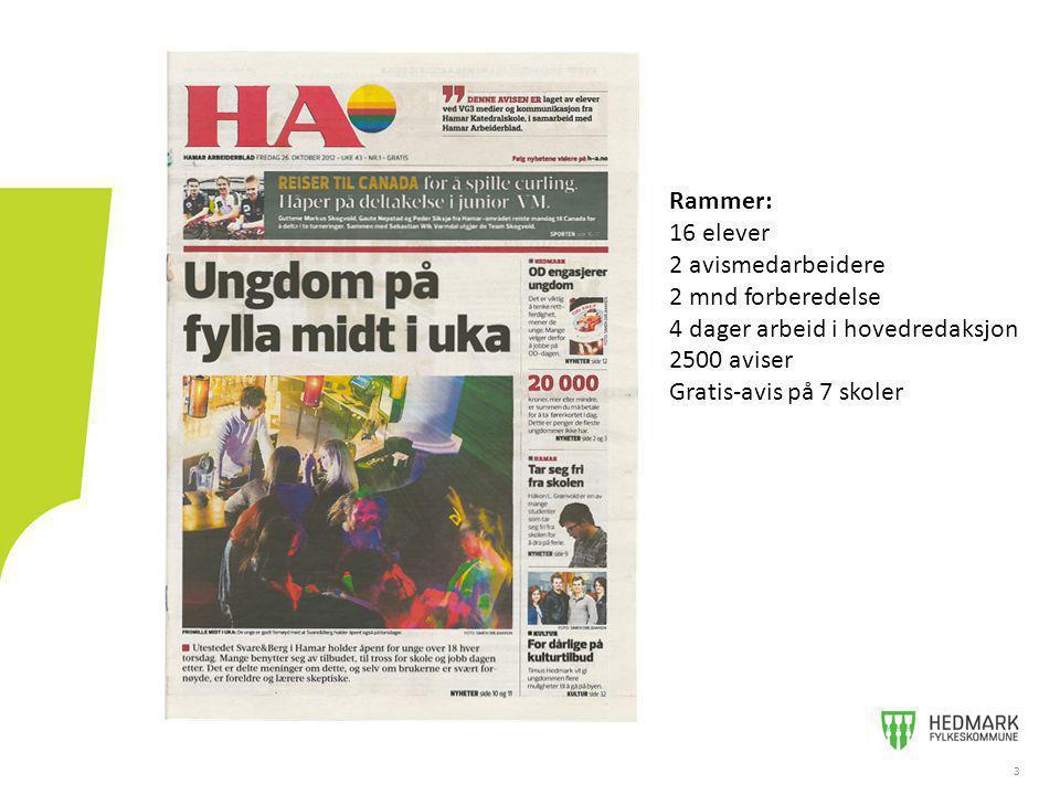 33 Rammer: 16 elever 2 avismedarbeidere 2 mnd forberedelse 4 dager arbeid i hovedredaksjon 2500 aviser Gratis-avis på 7 skoler