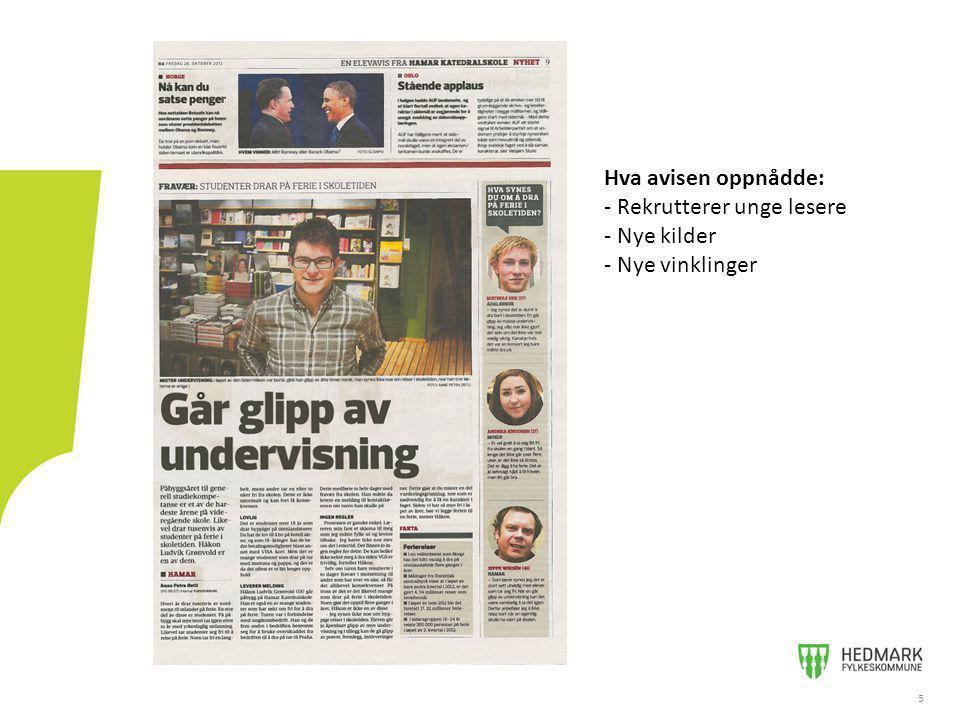 55 Hva avisen oppnådde: - Rekrutterer unge lesere - Nye kilder - Nye vinklinger