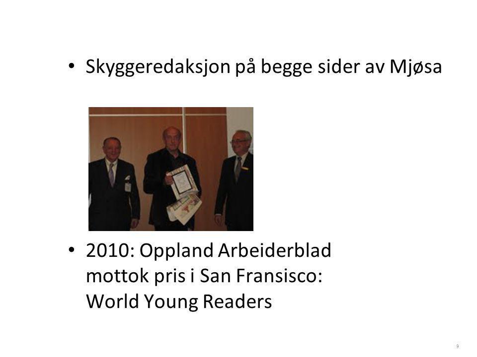 Skyggeredaksjon på begge sider av Mjøsa 2010: Oppland Arbeiderblad mottok pris i San Fransisco: World Young Readers 9