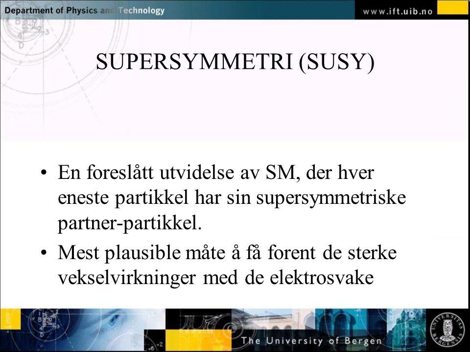 Normal text - click to edit SUPERSYMMETRI (SUSY) En foreslått utvidelse av SM, der hver eneste partikkel har sin supersymmetriske partner-partikkel.